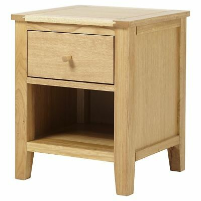 NEW Tesco Ruskin 1 Drawer Bedside - Solid Oak