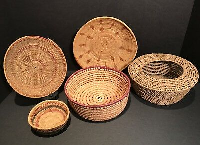Basketry Group,5 Baskets in Excellent Original Untouched Condition