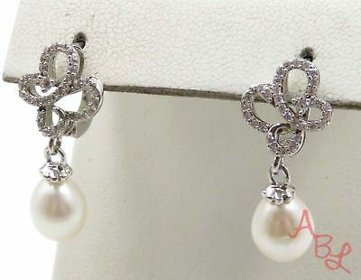 Sterling Silver Vintage 925 Latch White Stone & Pearl Earrings (5.1g) - 720083