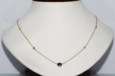 $3,000 1.44Ct Natural Sapphire & Diamond By The Yard Necklace 14K Yellow Gold