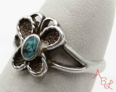 Sterling Silver Vintage 925 Butterfly Navajo Turquoise Ring Sz 4.5 (1.9g) 720287