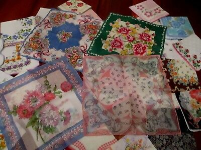 Vintage lot of 30 Stunning floral ladies hankies, handkerchiefs 11-12""