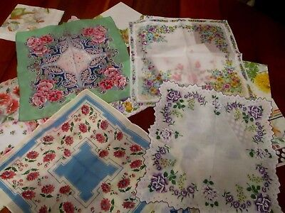 Vintage lot of 20 Stunning floral ladies hankies, handkerchiefs fine quality