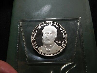 G92 Chile 1968 Silver 5 Pesos Sesquicentennial Naval School Proof
