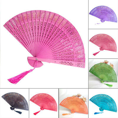 summer Wedding Hand Party Carved Bamboo Folding Fan Chinese Style Wooden