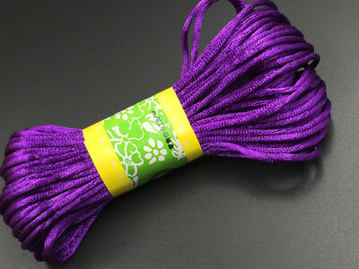 3mm Chinese Knot Satin Nylon Braided Cord  Purple Beading Rattail Wire Cords