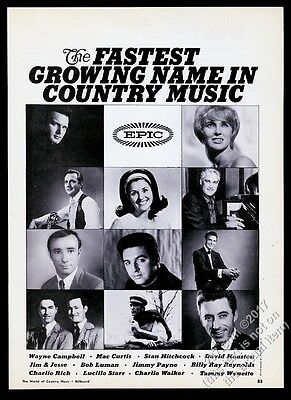 1968 Tammy Wynette Charlie Rich Mac Curtis Stan Hitchcock photo Epic Records ad