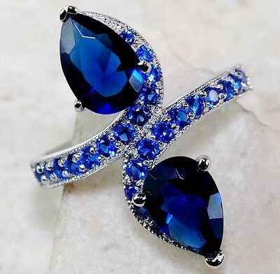 4CT Blue Sapphire 925 Solid Genuine Sterling Silver Ring Jewelry Sz 8