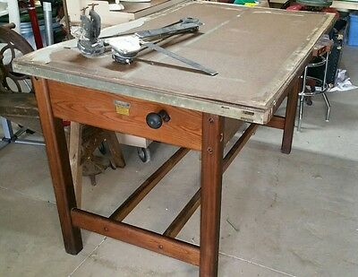Antique Hamilton Oak Drafting-Drawing Desk,Tilt top Table,Wood Architect-Artist