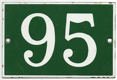 Old green French house number 95 door gate plate plaque enamel steel metal sign