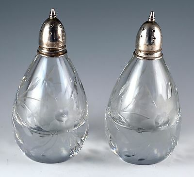 Vintage Clear Glass With Etched Flowers and Leaves Salt and Pepper Shakers