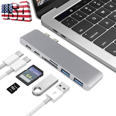 US 7 in 1 USB-C Dual Type C HD USB 3.0 Adapter HUB For MacBook