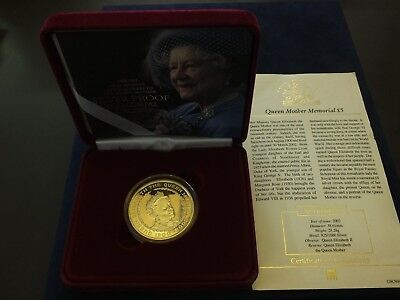 UK, Queen Mother Memorial Silver Five Pound Coin, 2002, in box with COA.