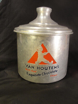 Vtg Van Houten's Chocolate Aluminum Soda Fountain Canister Advertising Display