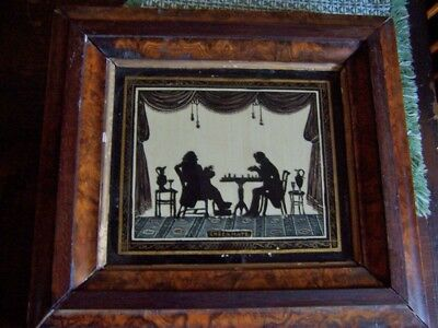 Antique  Painted  Silhouette Painting Checkmate early 19th cen. super