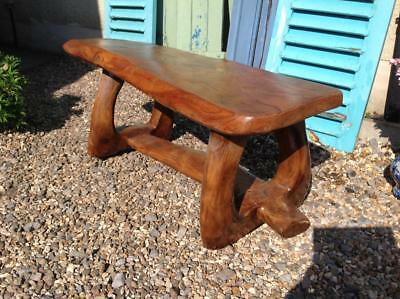 Superb Vintage Bench Or Coffee Table CRAFTED SINGLE PIECE OF ELM 60s Rustic Chic