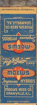 MOEWS SEED Co. Improved HYBRIDS~Corn FS Matchbook Cover GRANVILLE, ILLINOIS