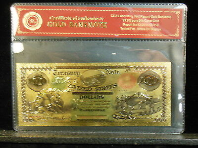 1864 United States Treasury Note 100 Dollar 24Kt Gold Foil Banknote
