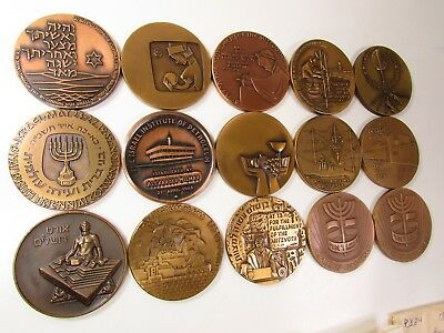 1959-1973 ISRAEL LARGE BRONZE MEDAL MIXED LOT COLLECTION UNC 59mm - 15 MEDALS