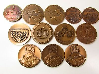 1961-1971 ISRAEL LARGE BRONZE MEDAL MIXED LOT COLLECTION UNC 33mm-45mm-12 MEDALS