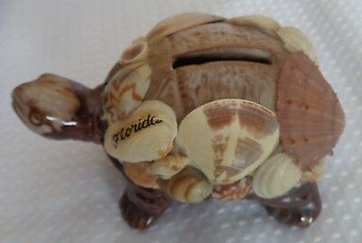 Bank Piggy bank souvenir coin Turtle Sea Shell Florida Vintage porcelain base