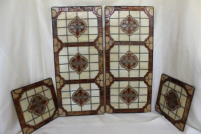 4 Stained Glass Panels, 11 x 25 & Matching 9 x 9, Amber Cream & Brown Stainglass