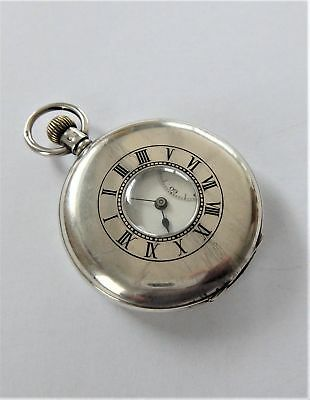 1928 J W Benson Silver Half Hunter 17 Jewelled Swiss Lever Pocket Watch Working