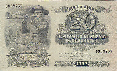 20 Krooni Very Fine++ Banknote From Estonia 1932!pick-64