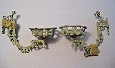 2 Antique Vintage Ornate Metal Wall Sconces With Wall Hangers ~ L@@k ~