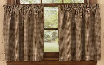 Country Shades of Brown Lined Tier Curtains 72WX24L Mini Check Cotton