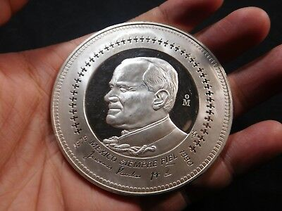 H21 Mexico 1979 Silver 8 Oz. Medal Pope John Paul II Huge RARE Medal