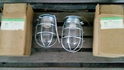 2 Vintage Nos Wire Caged Lights Industrial Steampunk