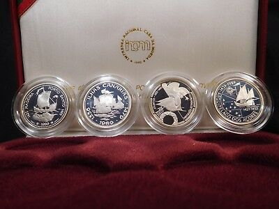 H34 Portugal 1990 Silver 4 Coin Proof Set Conquest of Atlantic w/ BOX & COA