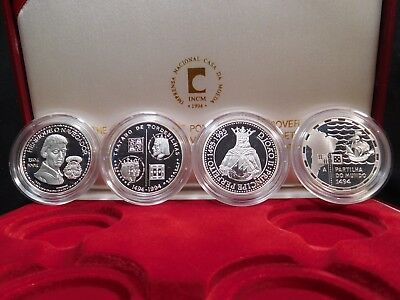 H36 Portugal 1994 Silver 4 Coin Proof Set Division of the World w/ BOX & COA