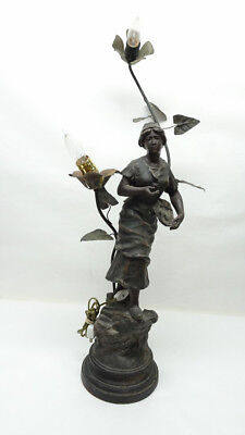 FRENCH ART NOUVEAU French 2 Flower Lady Figural- 3/B31916A