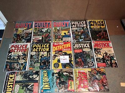 LOT 13 1950s 60s GOLD/SILVER AGE GUILTY POLICE ACTION JUSTICE CRIME COMIC BOOKS