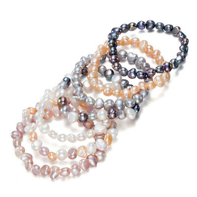 One Classic Baroque Freshwater Cultured Pearl Bead Nugget Bracelet Elastic