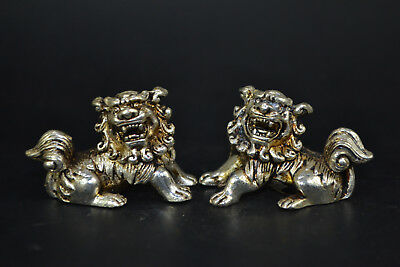 Chinese Myth Style Collectible Old Tibet Silver kylin Pair Statues handwork