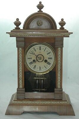 Antique Junghans Victorian Mantle Clock With Key & Pendulum.