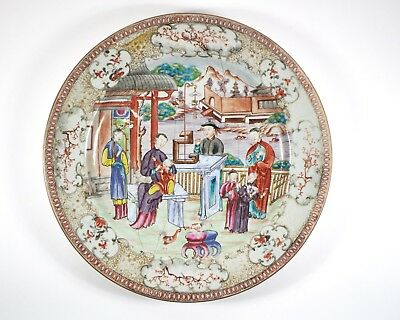 Big antique 18thc Chinese Famille Rose porcelain charger plate 35cm/13.75in dia