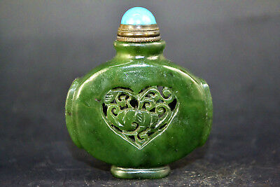 Collectible Old Natural Jade handwork carve heart rare chinese Snuff Bottle