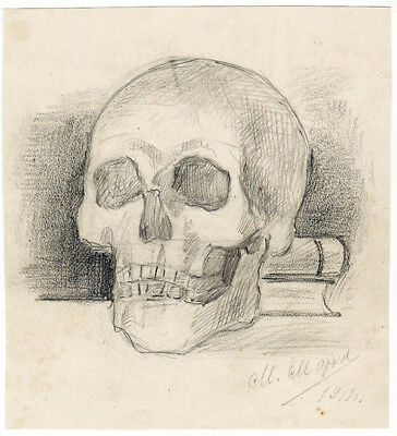 SKULL signed drawing of 1911 by RUSSIAN ARTIST M.A.Markov