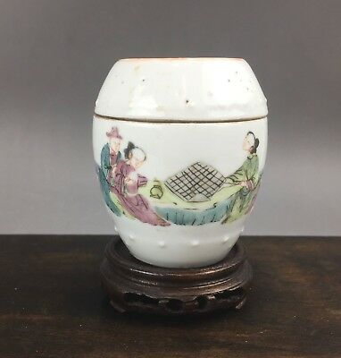 A rare/beautiful Chinese 19C famille rose miniature drum jar/cover-Tongzhi