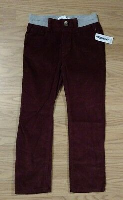 Old Navy Boys Corduroy Pants 5T Pull On Dark Red Maroon Toddler NEW NWT
