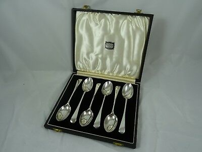 BOXED set x 6 solid silver TEA SPOONS, 1922, 105gm