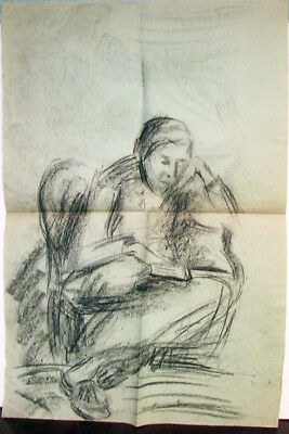 WOMAN IN THE CHAIR WITH BOOK Drawing by Russian artist A.M.Gromov