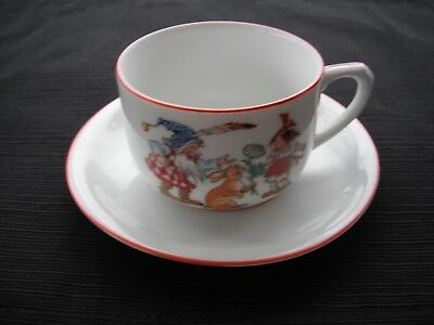 Schirnding Bavaria Child's Cup & Saucer Gnome, Rabbit & Girl with Red Trim