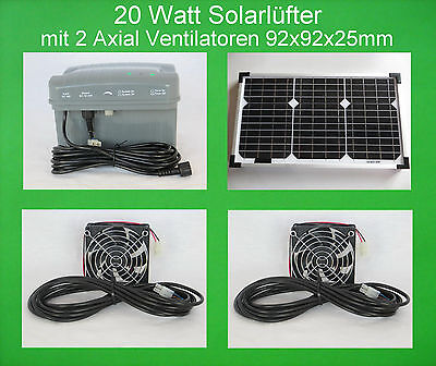 20 W Solar Fan with 2 Axial Fan Ventilator Rechargeable Battery Solar Fan New