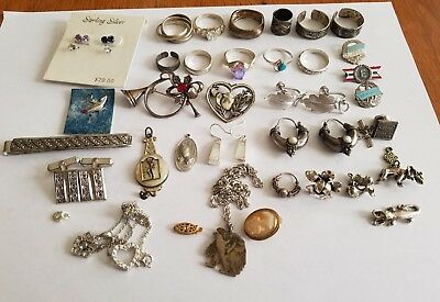Vintage to Modern Lot of Sterling Silver Jewelry Some Scrap Some Not 130+ Grams