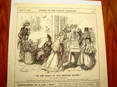 SUPERB ANTIQUE ORIGINAL PERIOD EARLY 1900`s POLITICAL SUFFRAGETTE CARTOON # 24